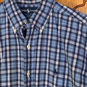 LNC Ralph Lauren medium blue plaid shirt